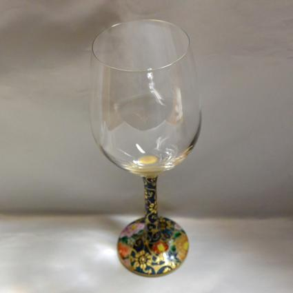 [Kutani Wine Glass][Red Wine]Aochibu Hanazume by Saeki Shinpei