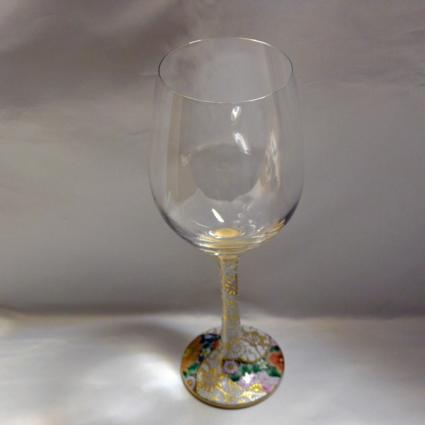 [Kutani Wine Glass][Red Wine]Shirochibu Hanazumwe by Saeki Shinpei