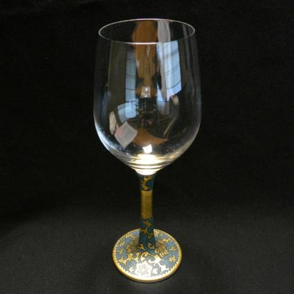 [Kutani Wine Glass][Red Wine]Uzuuchi Aochibu by Nakata Kingyoku